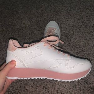 Qupid Pink and White Platform Sneakers
